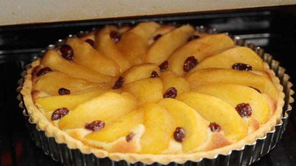 When the almond cream and apple turn golden brown, it is ready. Remove and place the pan onto a cooling rack.