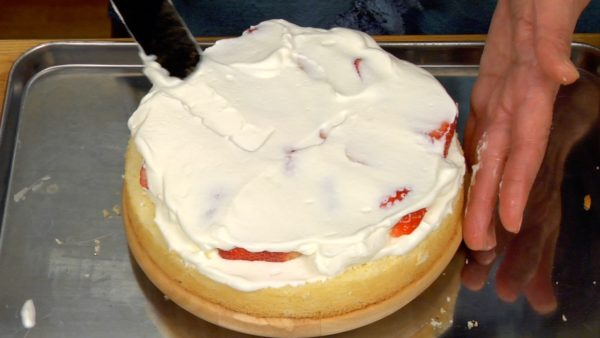 Drop the whipped cream on top and spread evenly. Add extra whipped cream to cover the strawberries completely.