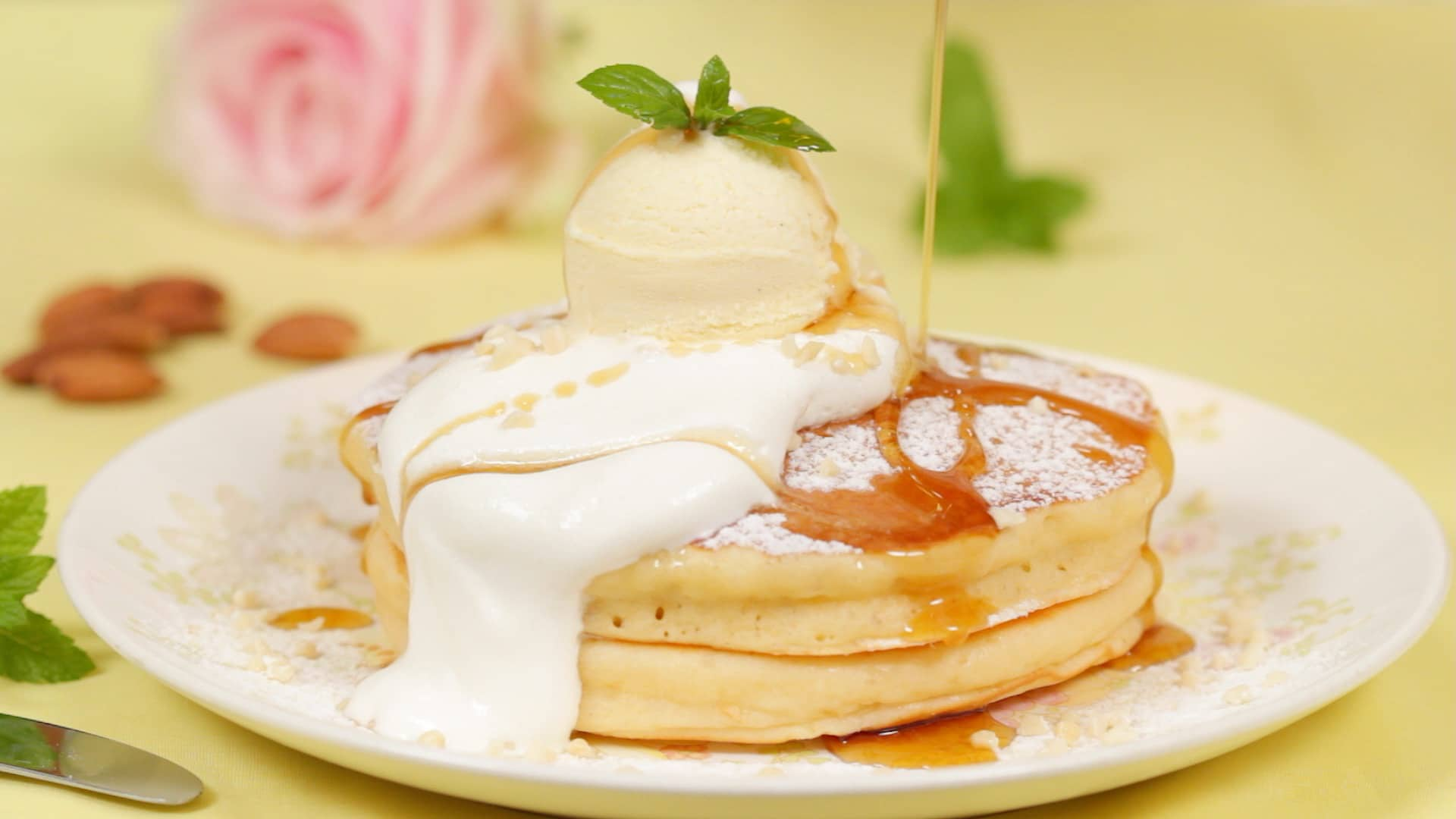 Japanese style pancakes recipe hotcakes cooking with dog sprinkle on the diced almonds add a small amount of whipped cream finally garnish with the mint leaves enjoy the pancakes with the maple syrup ccuart Choice Image