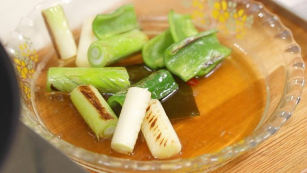 Now, the vegetables are deliciously browned. Place them into the marinade.