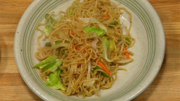 Serve the yakisoba to a plate. You can add bonito flakes, aonori seaweed powder and shredded pickled ginger.