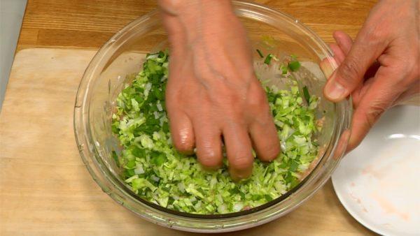Ajoutez le chou haché, l'oignon et la ciboulette chinoise au mélange. Mélangez juste assez pour incorporer.
