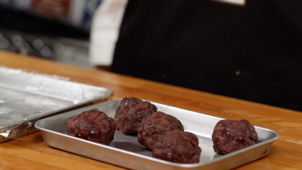 Store the anko balls in the freezer while making the mochi wrapper.