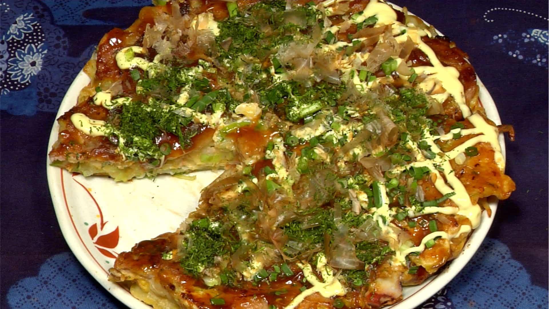 Okonomiyaki Recipe (Japanese Grilled Savory Pancakes with Pork and Seafood)