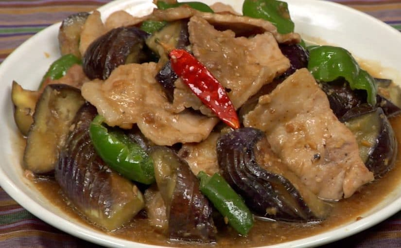 Miso Pork Stir-Fry with Eggplants and Bell Peppers