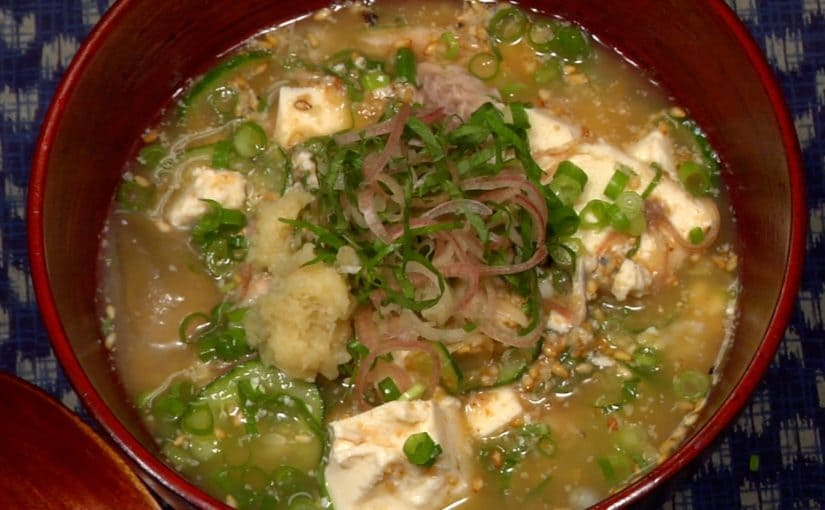Hiyajiru Recipe (Cold Savory Soup with Grilled Horse Mackerel)