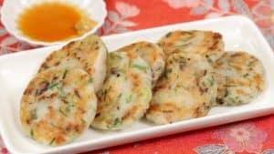 Rezept für einfache, gebratete Daikon-Mochi (Chinesische Rübenkuchen)