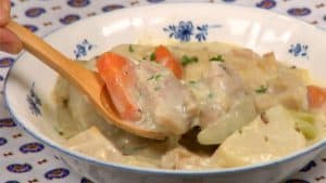 Cream Stew Recipe (White Chicken Stew with Mushrooms and Root Vegetables)