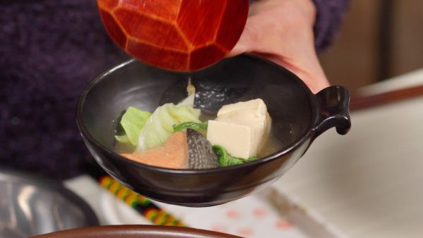 Ladle the ingredients into a bowl along with the delicious miso broth.