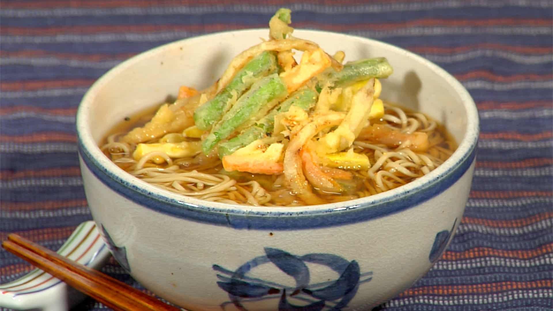 Kakiage Soba Noodles Recipe (Hot Soba with Mixed Vegetable Tempura)