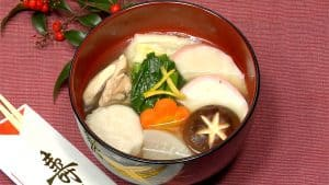 Ozoni Recipe (Japanese New Year Mochi Soup with Chicken and Vegetables)