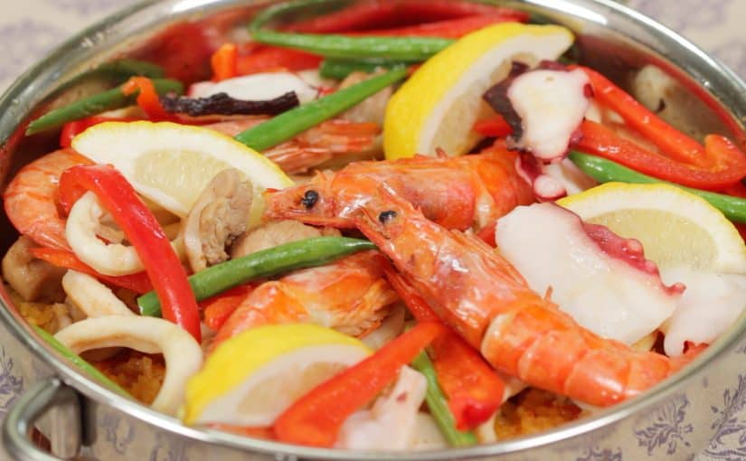 Seafood and Chicken Paella Recipe with Japanese Rice