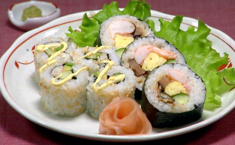Futomaki Sushi and California Roll Recipe (Thick Rolled Sushi Futomakizushi)