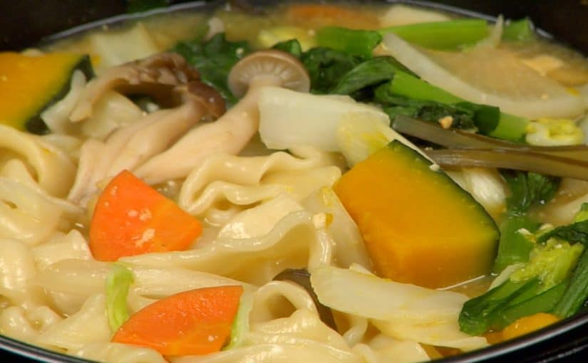 Hoto Noodle Soup Recipe (Flat Noodles and Vegetables Stewed in Miso Soup)