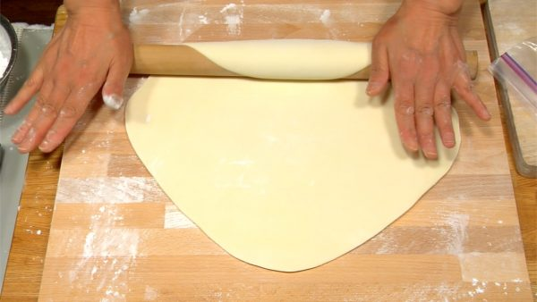 Rotate the dough sheet by 90 degrees and repeat the process.