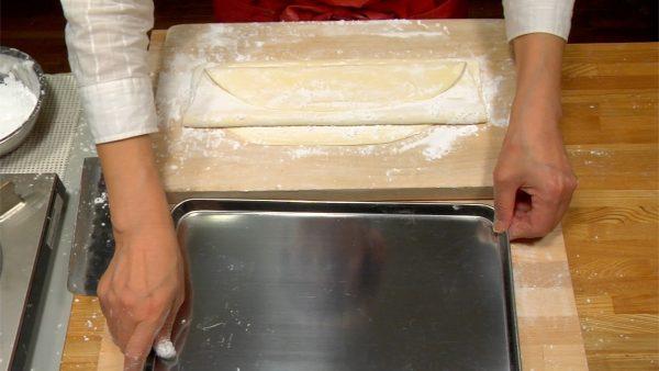 Place a baking sheet near the cutting board.