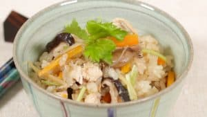 Takikomi Gohan with Chicken and Mushrooms Recipe (Easy Mixed Rice in Rice Cooker)