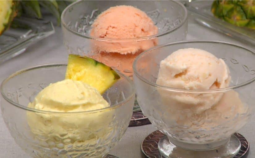 Pineapple Ice Cream Recipe (Homemade Fruit Ice Cream in a Food Processor)