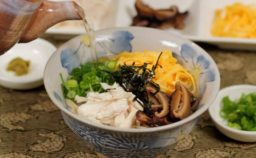 Keihan Recipe (Chicken Soup over Rice with Fried Egg and Shiitake Mushrooms)