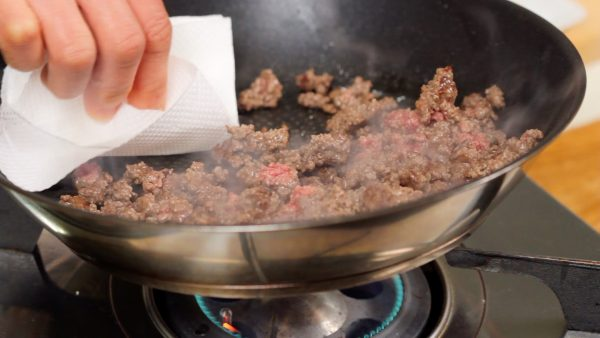 To make the dish healthier, remove the excess fat with a paper towel.