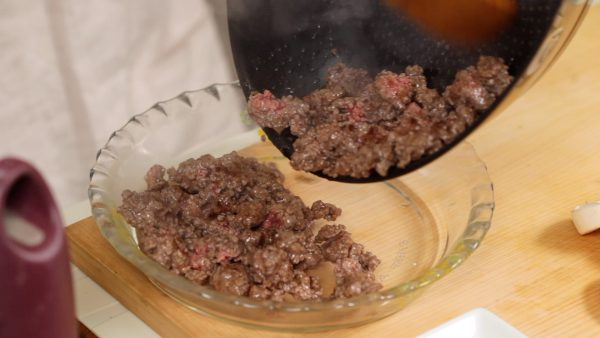 When the redness in the meat disappears, place it onto a plate.