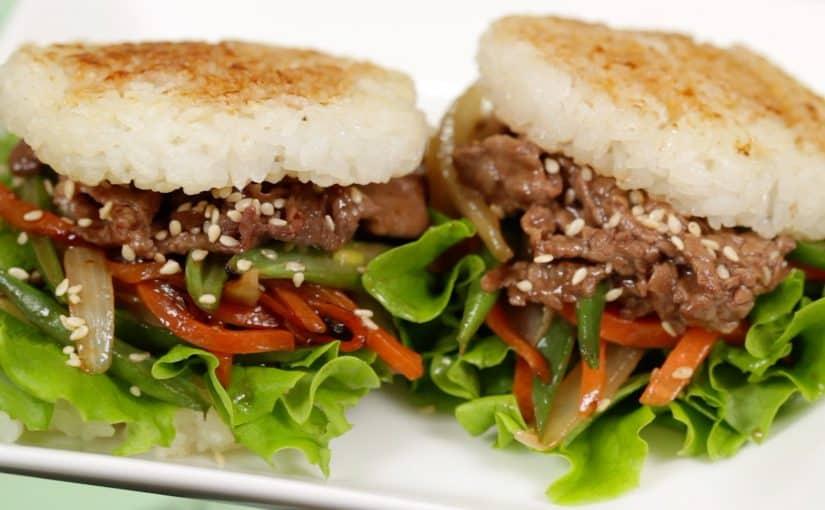 Teriyaki Beef Rice Burgers Recipe (Yakiniku and Lettuce Wrapped with Rice Buns)
