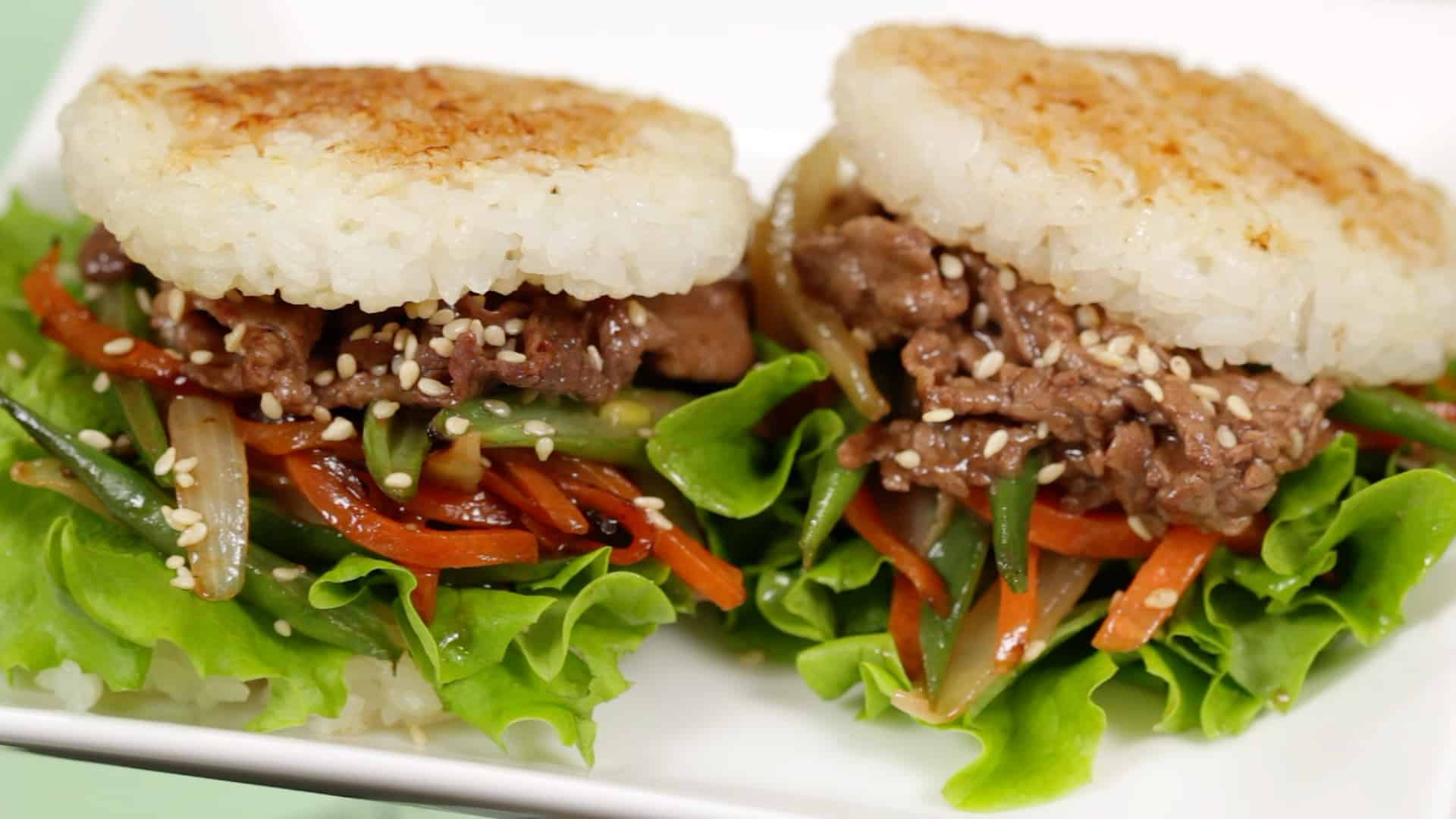 Teriyaki Beef Rice Burgers Recipe Yakiniku And Lettuce Wrapped With Rice Buns Cooking With Dog