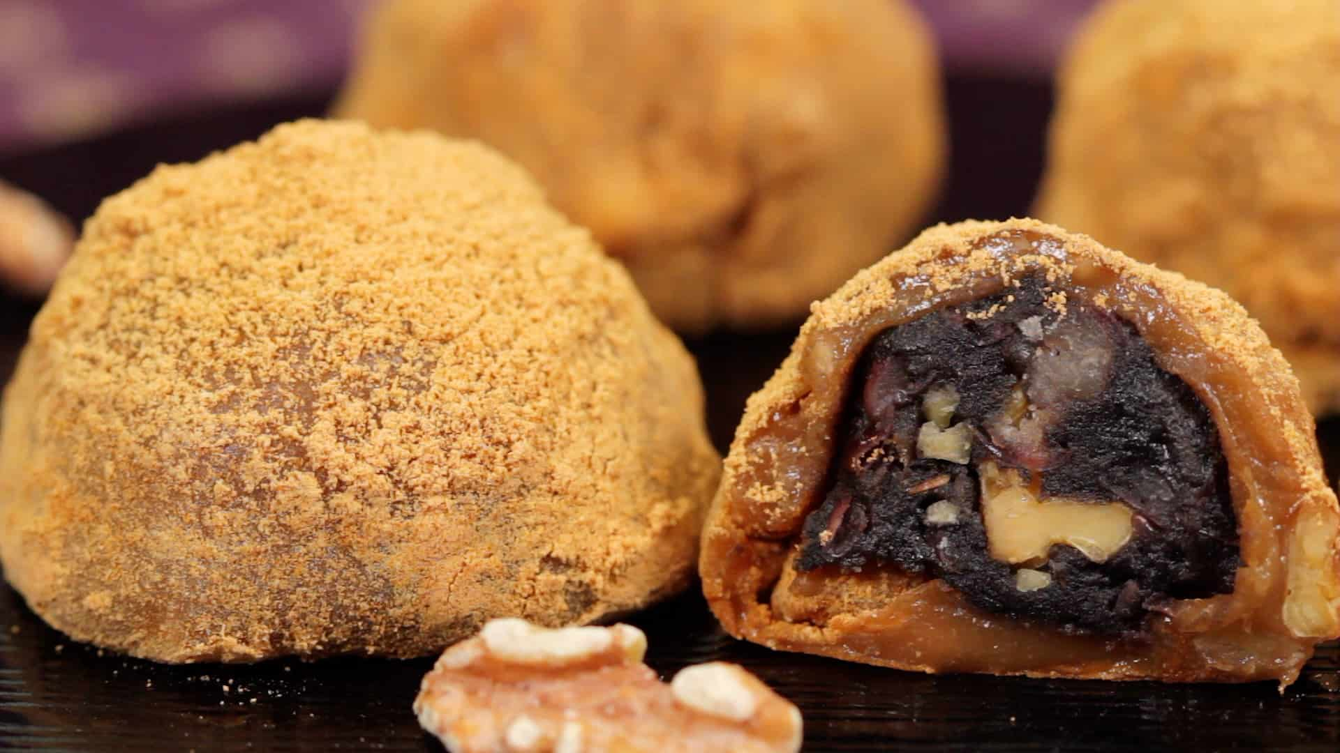 Walnut Daifuku with Sweet Sesame and Bean Paste Filling Recipe
