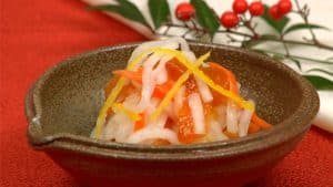 Kohaku Namasu Recipe (Japanese New Year Daikon and Carrot Marinated in Rice Vinegar)