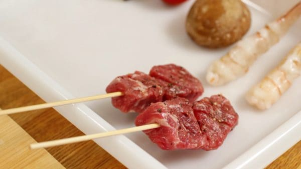 This cut is beef round but sirloin or tenderloin can also be used.