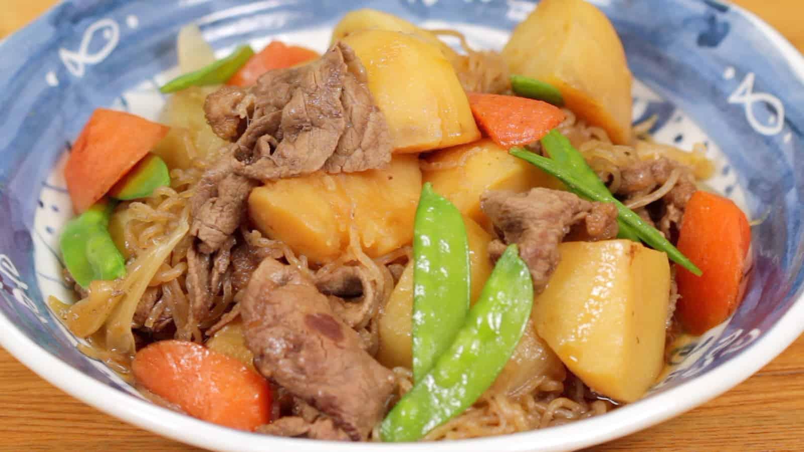 Nikujaga Recipe (Beef and Potatoes Stewed in Savory Soy Sauce Based Dashi Broth)
