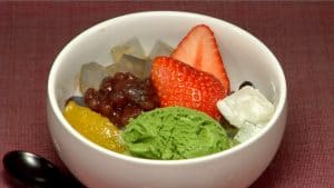Fruit Cream Anmitsu Recipe (Traditional Cold Dessert with Agar and Red Bean Paste)