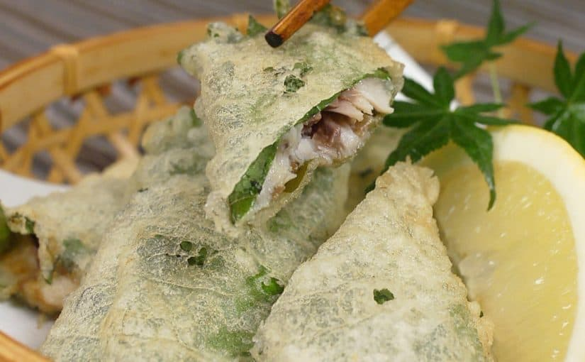 Shiso Wrapped Sardines Recipe (Deep-Fried Sardines Marinated with Umeboshi and Mayo)