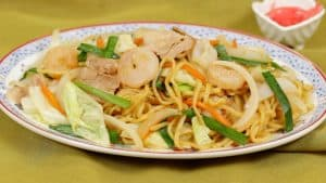 Seafood Yakisoba Noodles Recipe (Stir-Fried Noodles with Shrimp Squid and Pork)
