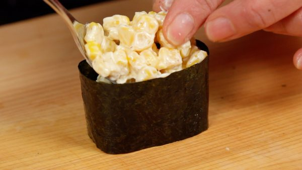 You can leave out the wasabi for this corn mayo topping.