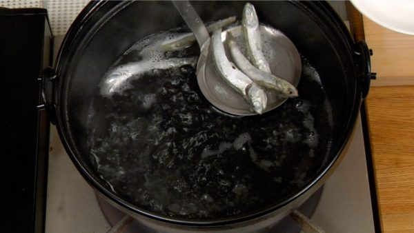 煮干しを網ですくいとります。