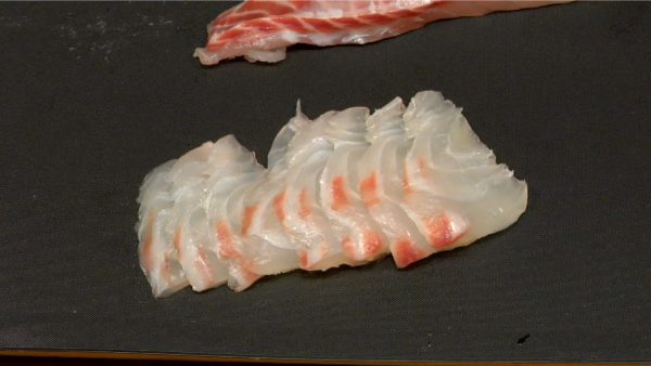 The thin slices of the fish easily absorb the marinade, and they will be quickly heated by hot green tea.
