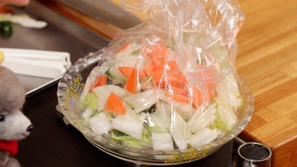 Place all the vegetables into the bag. The weight of the vegetables should be 300 g (10.6 oz) in total.