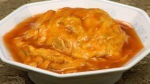 天津飯の作り方 ふわふわ卵の中華風オムレツにとろとろの甘酢あんレシピ